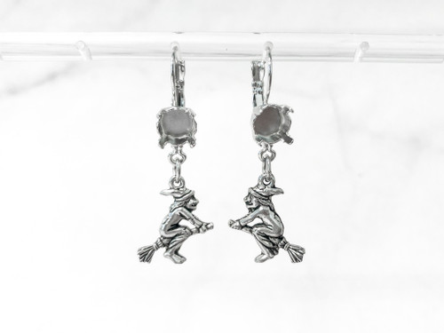 8.5mm | One Setting Drop & Witch on Broomstick Charm Earrings | One Pair