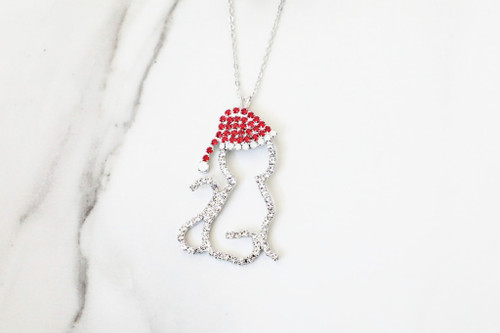 Cat With Santa Hat Crystal Rhinestone Necklace | One Piece