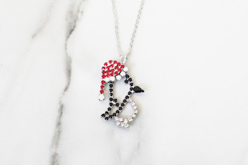 Penguin With Santa Hat Crystal Rhinestone Necklace | One Piece