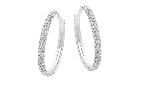 Silver Double Row Large Hoops