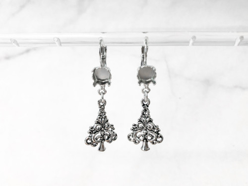 8.5mm | One Setting Drop & Swirl Tree Charm Earrings | One Pair