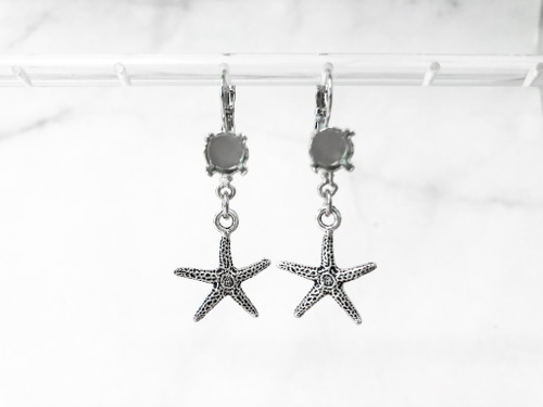 8.5mm | One Setting Drop & Starfish Charm Earrings | One Pair