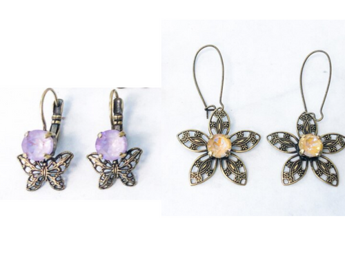 2 Pairs | Brass Ox Filigree Earrings | Finished