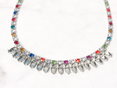 One of a Kind Navette Multi Color Necklace