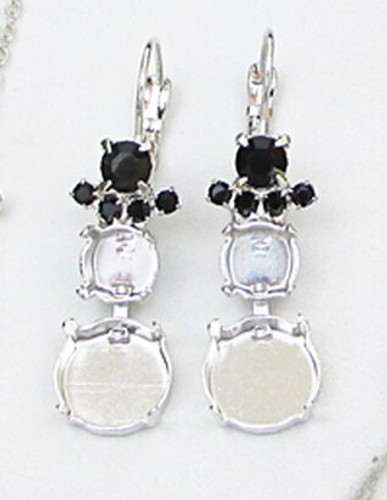 8.5mm & 12mm Round | Snowman Crystal Rhinestone Earrings | One Pair