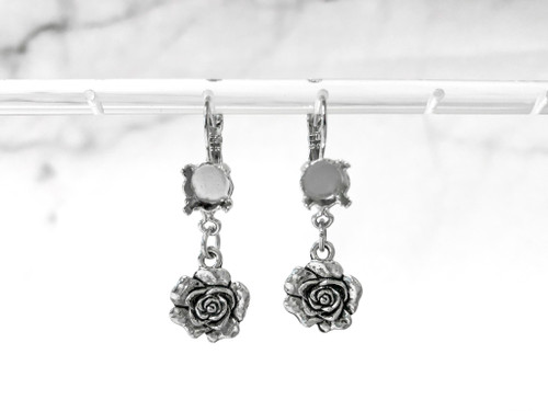 8.5mm | One Setting Drop & Rose Charm Earrings | One Pair