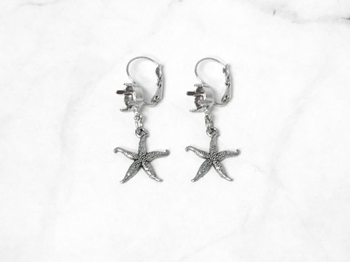 8.5mm | One Setting Drop & Fancy Starfish Charm Earrings | One Pair