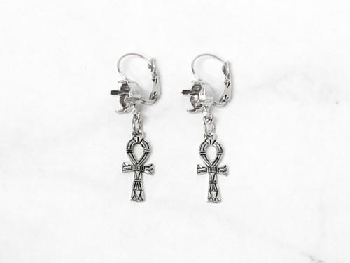 8.5mm | Loop Cross Drop Earrings | One Pair