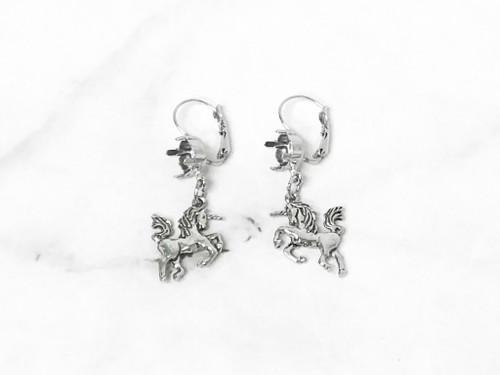 8.5mm | One Setting Drop & Unicorn Charm Earrings | One Pair