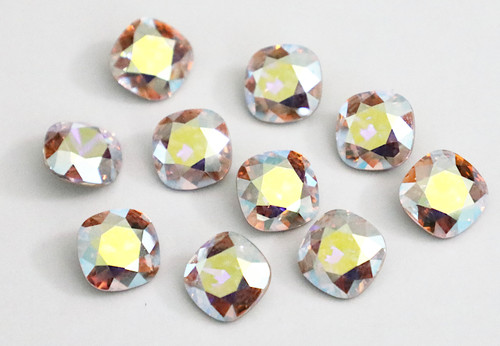 Limited Edition | 10mm | Square Cushion Cut | Swarovski Article 4470 | Light Silk AB | 3 Pieces