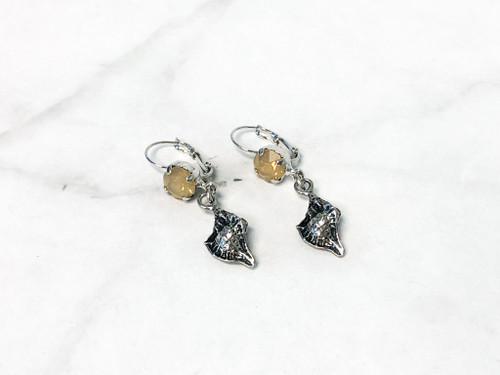 Vintage Sand Opal Shell Drop Earrings