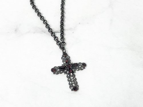Burgundy Filigree Cross Necklace made with Swarovski Crystals