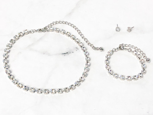 Crystal Bracelet, Earring and Necklace Set