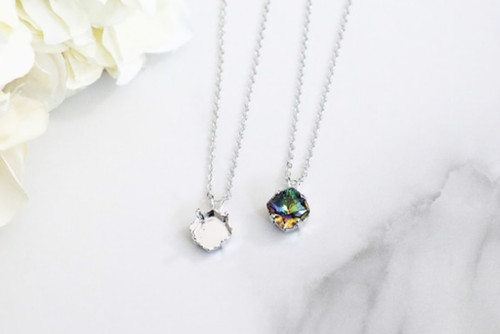 10mm MYSTIC Square | Single Pendant On Necklace Chain | One Piece