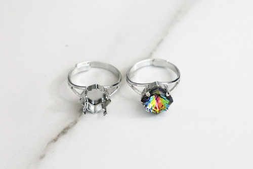 10mm MYSTIC Square   Classic Band Adjustable Ring   Three Pieces