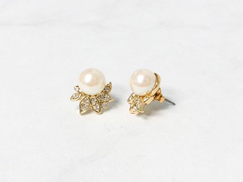 10mm Pearl Earrings with Crystal Embellishment