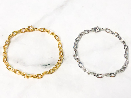 Chain Link Bracelet | Gold or Rhodium