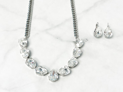 Pear V Necklace and Earring Set