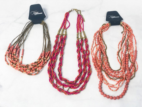 Statement Pink Bead Necklace Lot | 3 Pieces