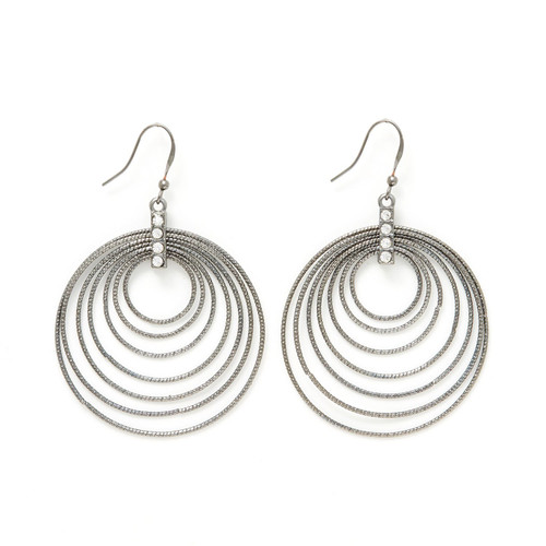 Charming Charlie Multi Rings Round Drop Earrings