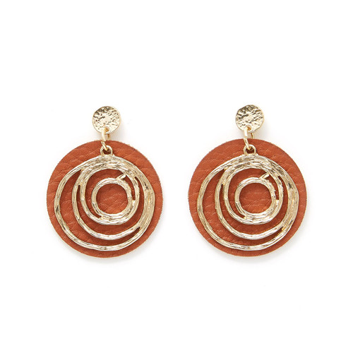 Charming Charlie Faux Leather Metal Swirl Gold Earrings