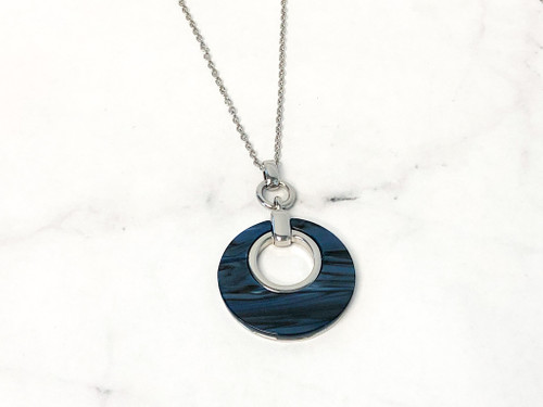Charming Charlie 34-Inch blue Circle Pendant Necklace