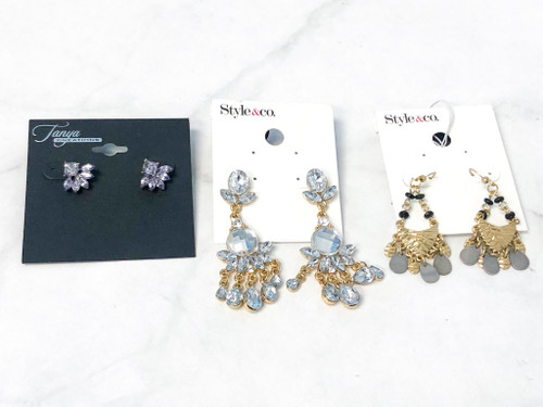 Glam on the Go Earrings Lot   3 Pairs
