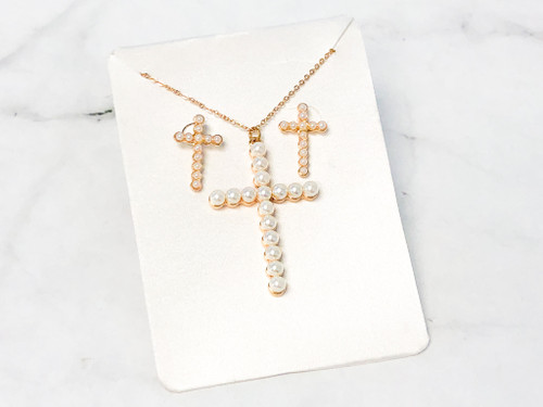 Pearl Cross Earring and Necklace Set