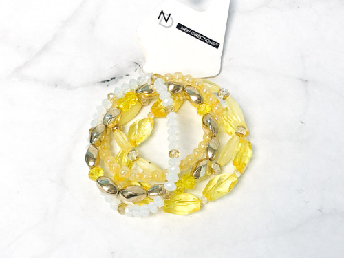 Yellow Beaded Layering Bracelets