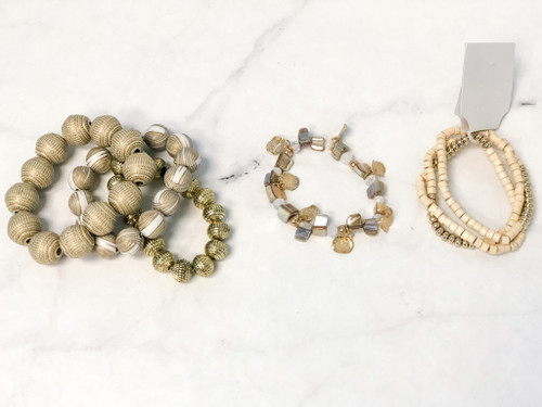 Boho Cream Beaded Bracelet Lot