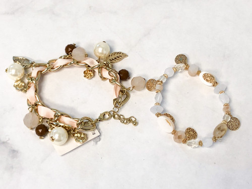 Cream Beaded Bracelets Lot | 2 Pieces