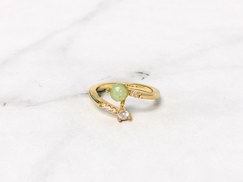 Adjustable Opal and CZ Ring | Size 6.5