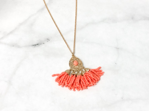 """Coral Beaded Pendant Necklace 30"""" Chain"""