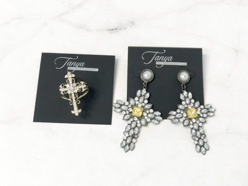 Cross Statement Earrings and Ring Sz 8