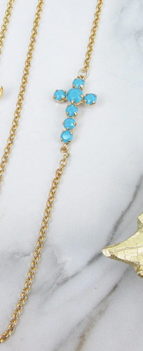 Finished Turquoise 6mm & 8.5mm Off Center Cross Necklace