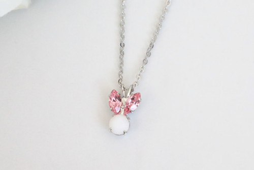 Small Pink Bunny Rhinestone Necklace | One Piece
