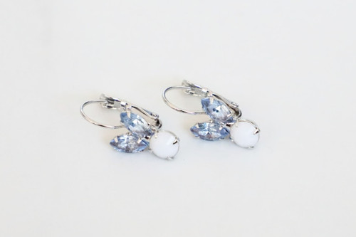 Small Blue Bunny Rhinestone Drop Earrings | One Pair
