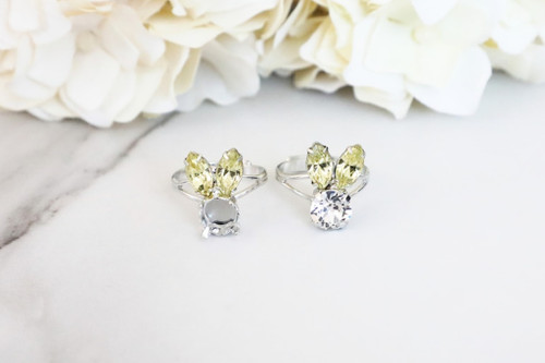 8.5mm | Small Bunny Crystal Rhinestone Adjustable Ring | One Piece