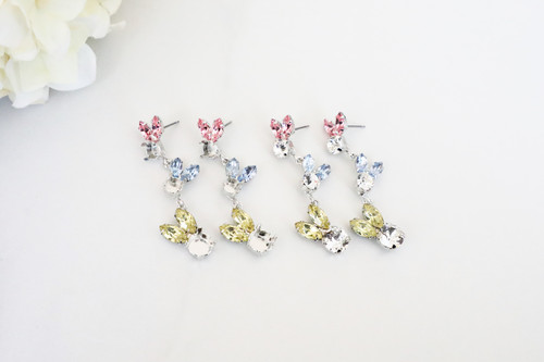 6mm & 8.5mm | Large and Small Bunnies Crystal Rhinestone Stud Drop Earrings | One Pair