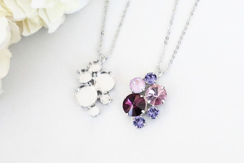 6mm, 8.5mm, 11mm, & 12mm Round | Mixed Cluster Pendant On Necklace Chain | One Piece