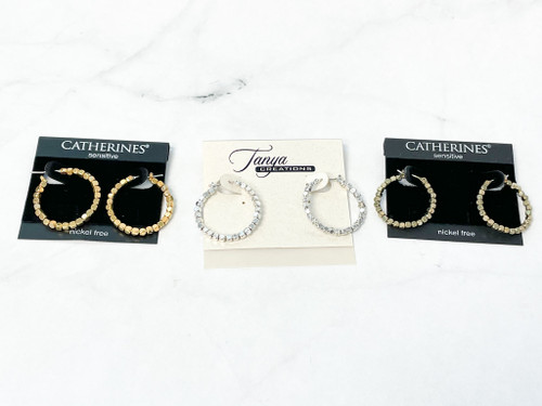 Beaded Hoops | Gold, Silver and Brass Ox