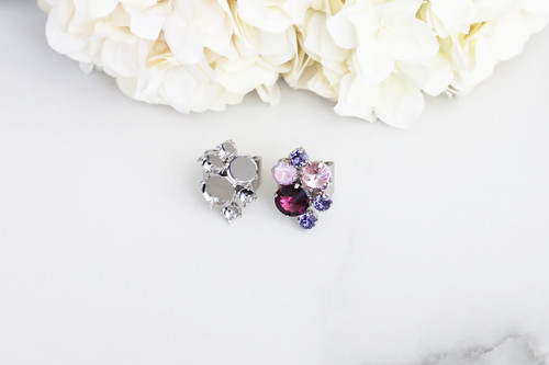 6mm, 8.5mm, 11mm, & 12mm Round   Mixed Cluster Wide Band Adjustable Ring   One Piece