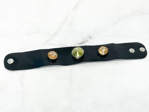 Black Leather Bracelet with Swarovski Crystals