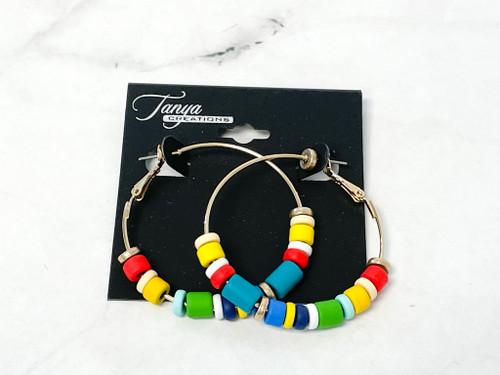 Colorful Bead Hoop Earrings