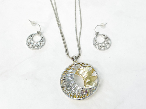 Two Toned Necklace and Earring Set