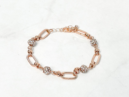 Rose Gold Fireball and Chain Bracelet