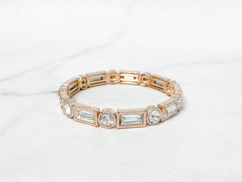 Rose Gold with Crystal Accents Stretch Bracelet