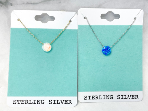 Sterling Silver Opal Necklaces | 2 Necklaces