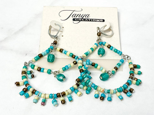 Turquoise Wire Beaded Earrings