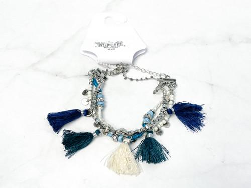 Blue Tassel Beaded Bracelet